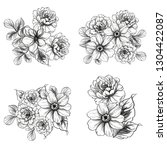 flowers set. collection of... | Shutterstock . vector #1304422087