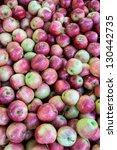 fresh red apples on the market. | Shutterstock . vector #130442735