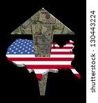 american dollars arrow and usa... | Shutterstock . vector #130443224