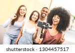 millennial people taking video... | Shutterstock . vector #1304457517