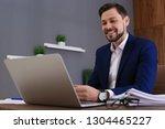 businessman working with laptop ... | Shutterstock . vector #1304465227