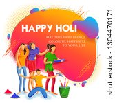 illustration of colorful happy... | Shutterstock .eps vector #1304470171