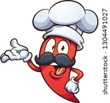 cartoon red chili pepper with a ... | Shutterstock .eps vector #1304491027