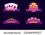 purple jackpot and poker emblem....