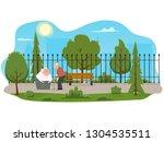 elderly couple outdoors. vector ... | Shutterstock .eps vector #1304535511