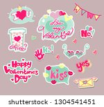 set of stickers for valentine... | Shutterstock .eps vector #1304541451