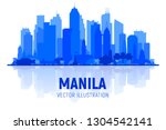 manila philippines skyline... | Shutterstock .eps vector #1304542141