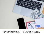 flat lay  top view office table ...   Shutterstock . vector #1304542387