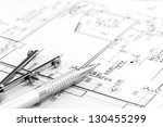 drawing compass and pencil on... | Shutterstock . vector #130455299