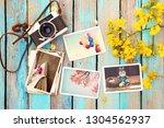 retro camera and paper photo...   Shutterstock . vector #1304562937