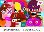 joyful and surprised woman and... | Shutterstock .eps vector #1304566777