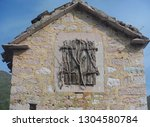 old stone house with shuttered... | Shutterstock . vector #1304580784
