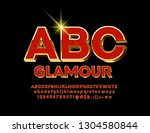 vector red and gold luxury 3d... | Shutterstock .eps vector #1304580844