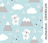 teddy bear seamless pattern... | Shutterstock .eps vector #1304581144