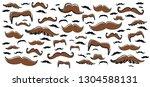 colored retro fake mustaches... | Shutterstock .eps vector #1304588131