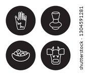 4 linear vector icon set  ... | Shutterstock .eps vector #1304591281
