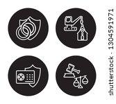4 linear vector icon set  ... | Shutterstock .eps vector #1304591971