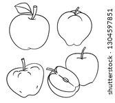 set of apples isolated on white ... | Shutterstock .eps vector #1304597851