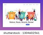 sorting organic trash for... | Shutterstock .eps vector #1304602561