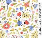 cute floral seamless pattern... | Shutterstock .eps vector #1304603167