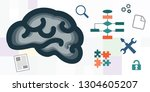 vector icons of brain and... | Shutterstock .eps vector #1304605207