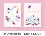 wedding blue roses  vintage...   Shutterstock .eps vector #1304612734