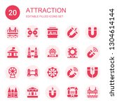 attraction icon set. collection ... | Shutterstock .eps vector #1304614144