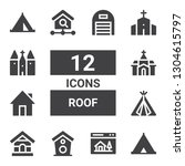 roof icon set. collection of 12 ... | Shutterstock .eps vector #1304615797