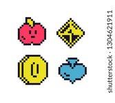pixel art style icons set...   Shutterstock .eps vector #1304621911