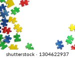 Stock photo frames and letters for the text of colorful puzzles world autism day the logo of autism 1304622937