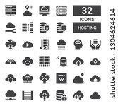 hosting icon set. collection of ... | Shutterstock .eps vector #1304624614