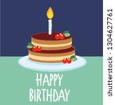 chocolate cake for birthday...   Shutterstock .eps vector #1304627761