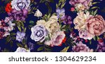 seamless floral pattern with... | Shutterstock . vector #1304629234