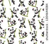 seamless pattern with panda... | Shutterstock .eps vector #1304644084