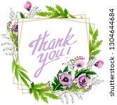 pink purple poppy floral...   Shutterstock . vector #1304644684