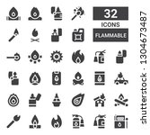 flammable icon set. collection... | Shutterstock .eps vector #1304673487