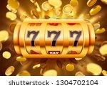golden slot machine with flying ... | Shutterstock .eps vector #1304702104