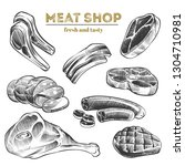hand sketched meat products... | Shutterstock .eps vector #1304710981