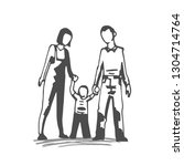 hand drawn family with mother ... | Shutterstock .eps vector #1304714764