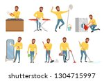 bearded man with different... | Shutterstock .eps vector #1304715997