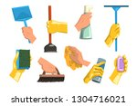 flat vector set of cleaning... | Shutterstock .eps vector #1304716021
