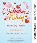 happy valentine's day party... | Shutterstock .eps vector #1304718904