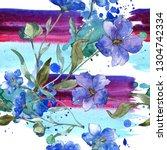 blue purple flax floral... | Shutterstock . vector #1304742334