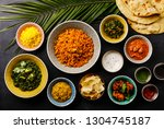 indian food curry butter... | Shutterstock . vector #1304745187