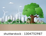 eco and environment concept ... | Shutterstock .eps vector #1304752987