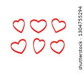 vector set of the hearts. heart ... | Shutterstock .eps vector #1304755294