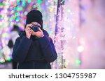 travel woman or photographer... | Shutterstock . vector #1304755987