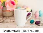 white mug mockup   easter theme.... | Shutterstock . vector #1304762581