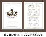 coffee menu design brochure... | Shutterstock .eps vector #1304765221