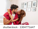 couple in love cuddling and... | Shutterstock . vector #1304771647